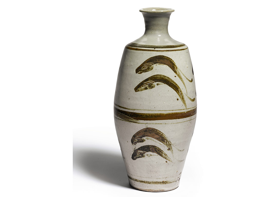 Evening Sale, Lot 1, Leach, Vase with 'Leaping Fish' Design