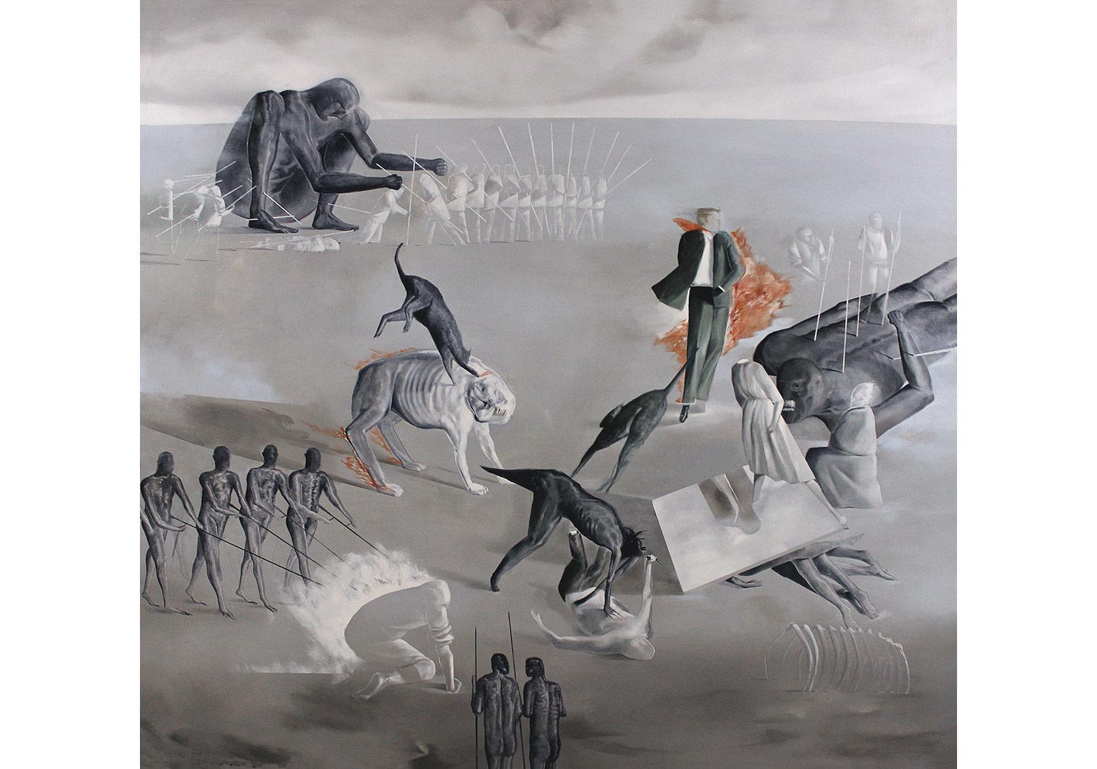 Tayfun Gülnar sonsuz devir III tuval uzerine yagli boya 155 x 165