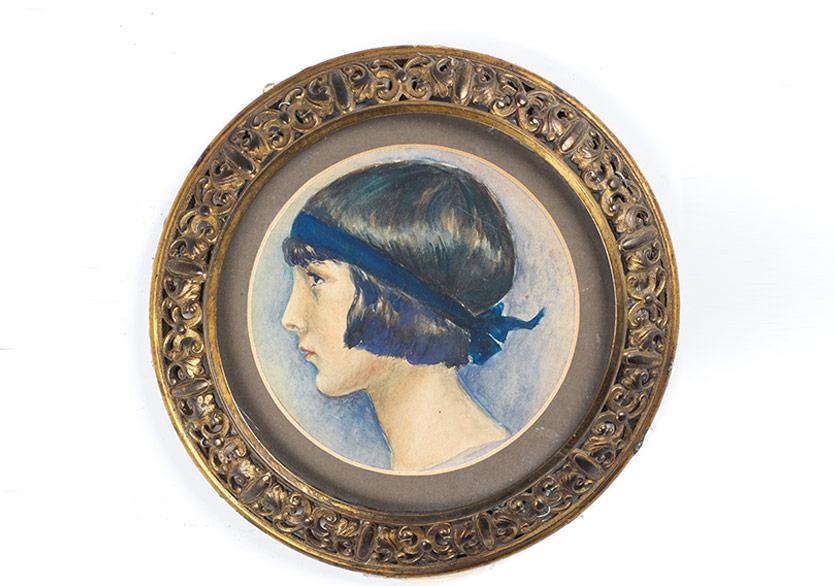 Fahrelnissa Zeid'in Füreya'ya 16. yaş gününde hediye ettiği portresi, kağıt üzerine suluboya, çap 11cm, 1926, Sara Koral Aykar Koleksiyonu