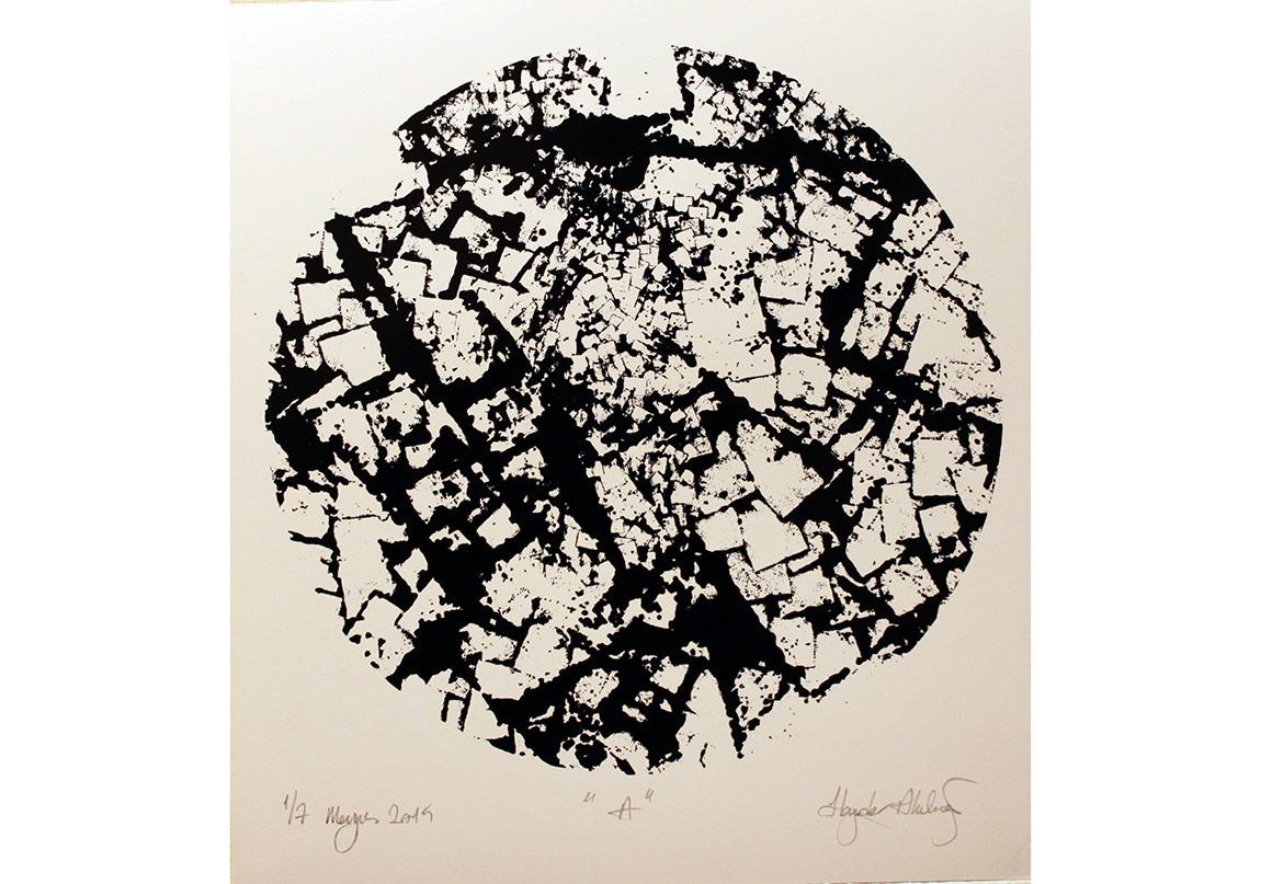 """Haydar Akdağ, """"A"""", Amerikan Bristol Kağıdı üzerine serigrafi baskı / Silk Print on American Bristol Paper, 32x35, 7+1 Ed. 2015"""