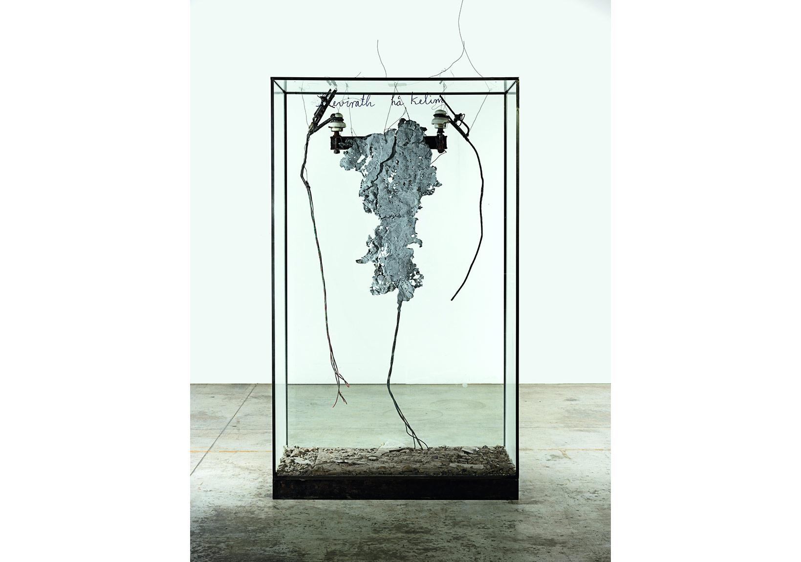 Shevirath ha Kelim [La Brisure des vases], 2015 Verre, métal, plomb, céramique, cendres et encre 210 x 121 x 50,5 cmCollection particulièrePhoto : © Georges Poncet