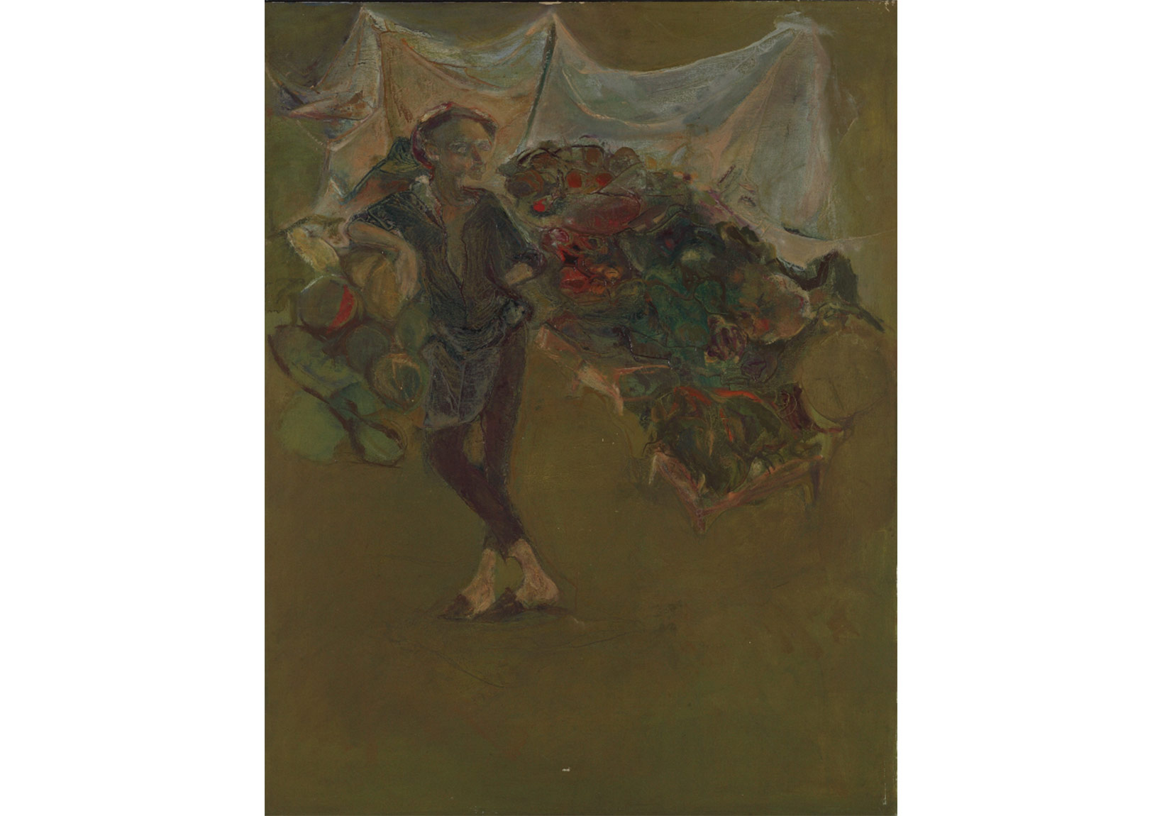 """Manav"", 1966, 118 x 93 cm, Tuval üzerine yağlıboya, Oil on canvas, Sanatçı koleksiyonu, Collection of the Artist"
