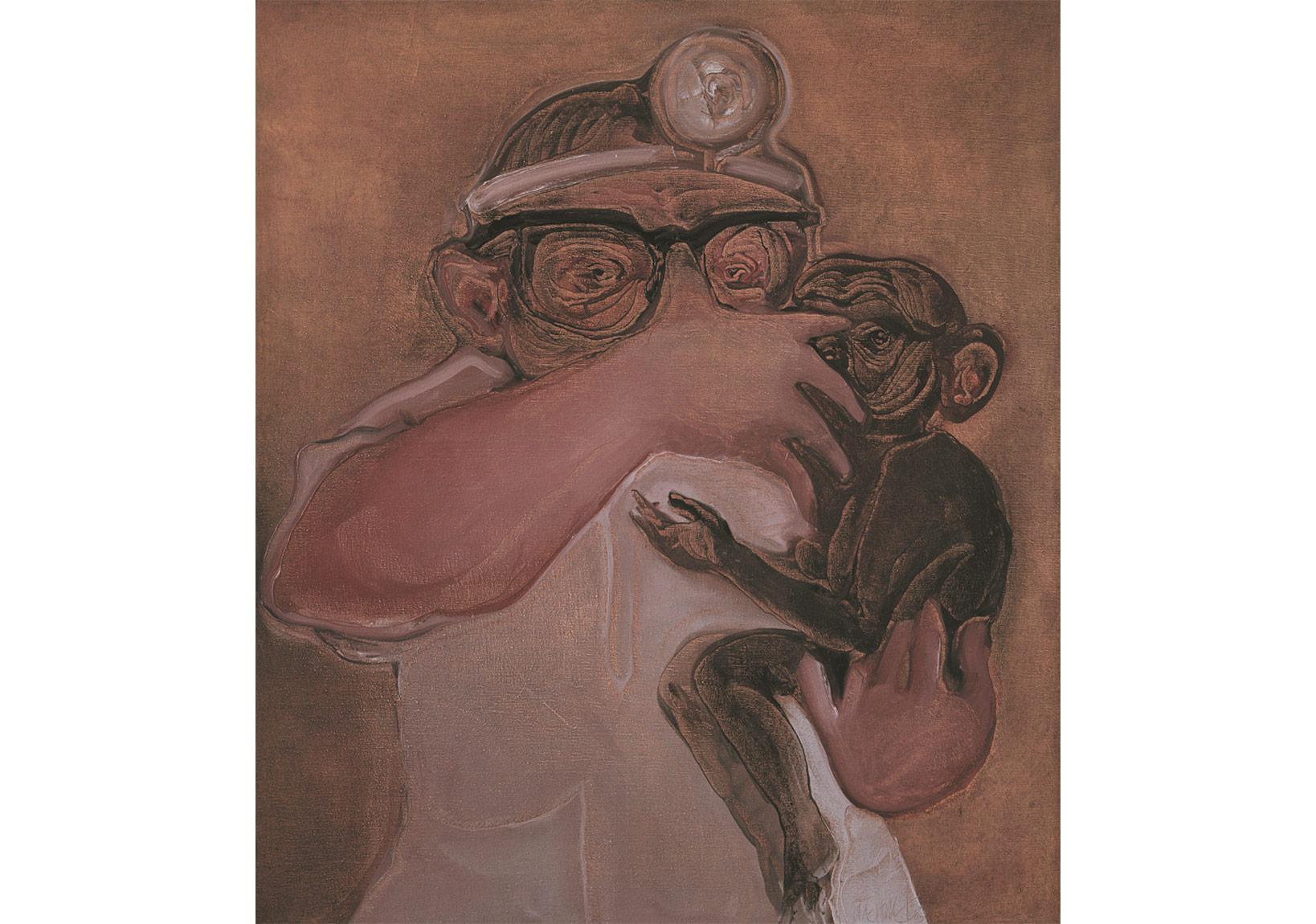 Doktorla Maymun,Tuval üzerine yağlıboya,74 x 65 cm,Dr. Nejat F. Eczacıbaşı Vakfı Koleksiyonu
