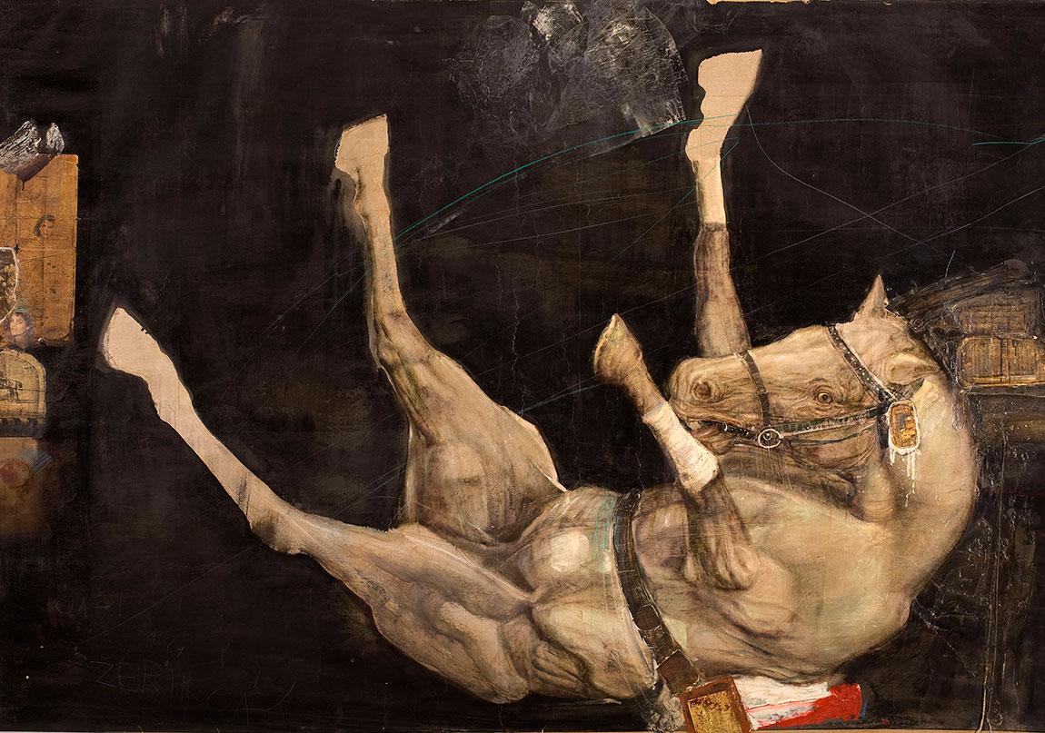 Koşulu At (1978) Kâğıt üzerine karışık teknik, 164 x 196 cm The Hitched-up Horse (1978) Mixed media on paper, 164 x 196 cm