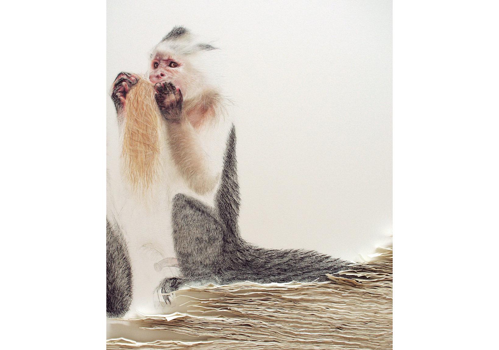 (Apo)tropaion #1 - Kağıt üzerine pastel, kağıt yara bantları, 215cm x 110cm x 4cm, detay ~60cm x 45cm x 4cm, 2012 - Copyright Svenja Schüffler