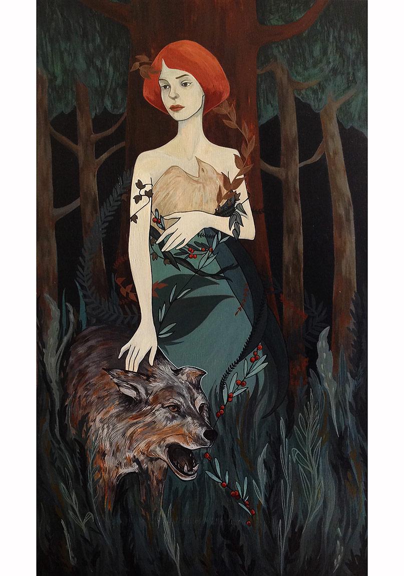 """""""Sığınak / Asylum"""", 70 x 40 cm, Ahşap üzerine akrilik, 2014"""