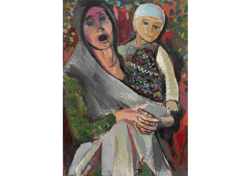 Köylü Kadın Çocuklu, 1983 Tuval Üzerine Akrilik