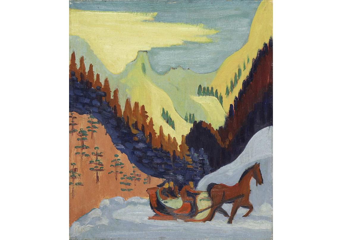 Ernst LudwigKirchner_Schlittenfahrt_Im_Schnee_1927