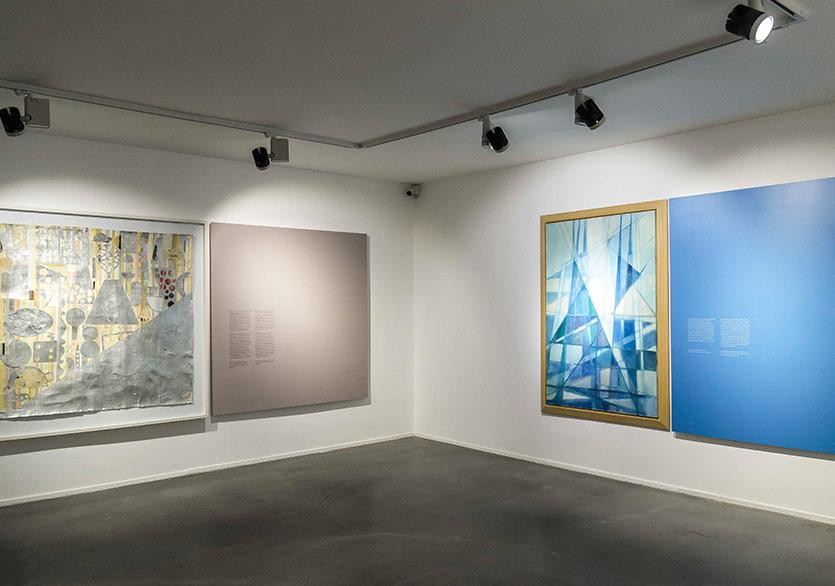Evren Tekinoktay - White Rain, 2008, Duralit üzerine karışık teknik, 130x130 cm, Ferruh Başağa - İsimsiz (Untitled) (2003), Tuval üzerine yağlıboya, 150x100 cm