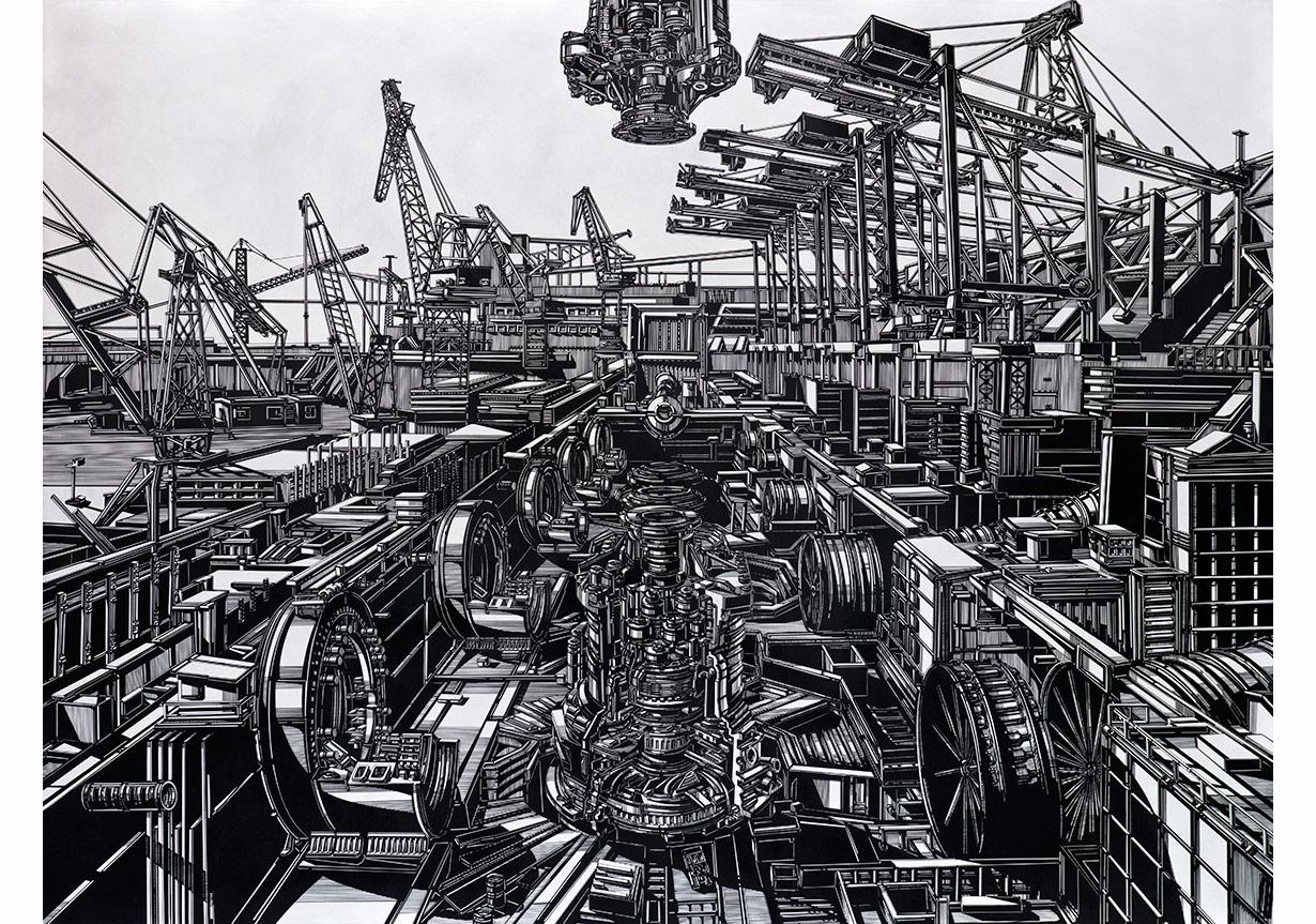 """Emin Mete Erdoğan, """"Dünyalılaştırma""""Alüminyum üzeri akrilik, 150 x 200 cm, 2015"""