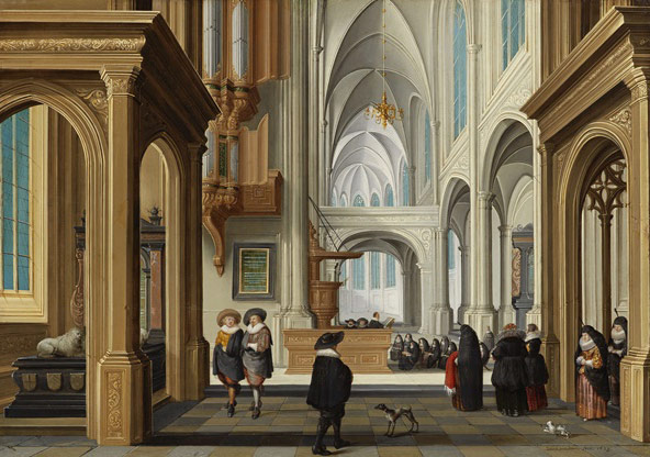 Dirck Van Delen A church interior with an elegant company attending a christening (1629)  Image- Courtesy of Johnny Van Haeften