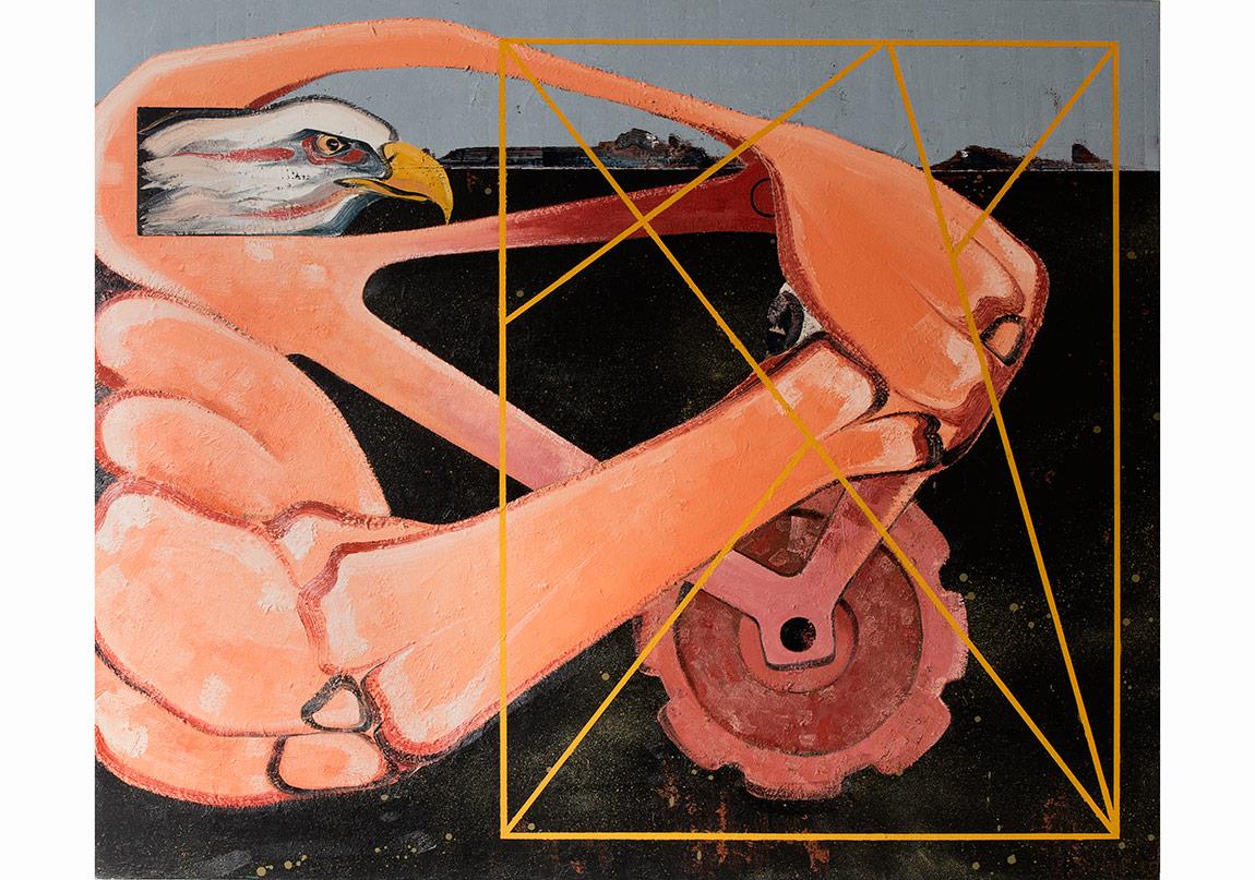 Organik Makine, 2014. Tuval üzerine yağlıboya, 167 x 200 cmOrganic Machine, 2014. Oil on canvas, 167 x 200 cmFotoğraflar: Kayhan Kaygusuz