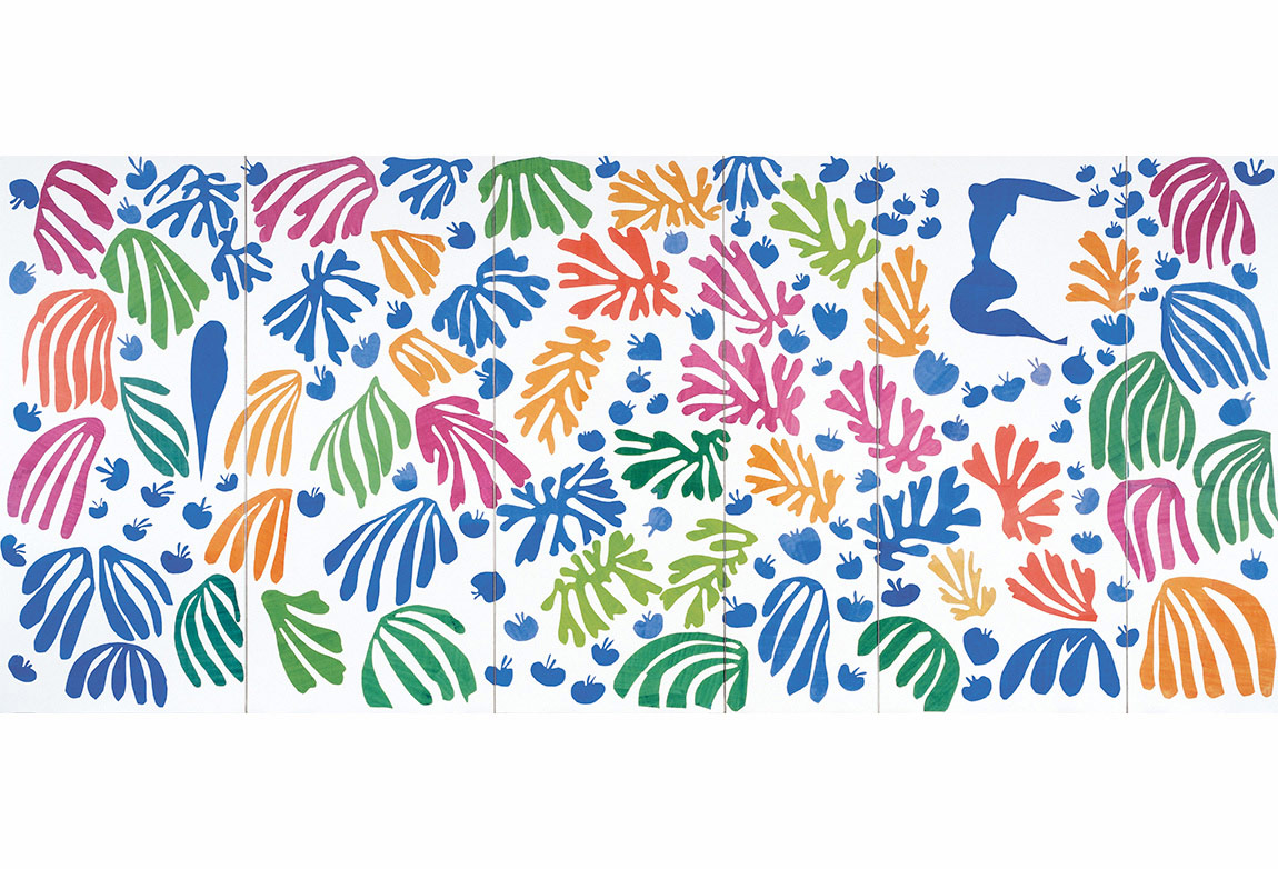 Henri Matisse (1869-1954). The Parakeet and the Mermaid. 1952. Kağıt üzerine guaş boya ve karakalem, (337 x 768.5 cm). Stedelijk Müzesi, Amsterdam. Vereeniging Rembrandt and the Prince Bernhard Kültür Fonu yardımıyla © 2014 Succession H. Matisse / Artists Rights Society (ARS), New York