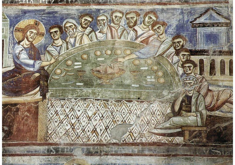 İtalyan Romanesk Ressamlar,Son Akşam Yemeği,1080, fresk, Sant'Angelo, Formis