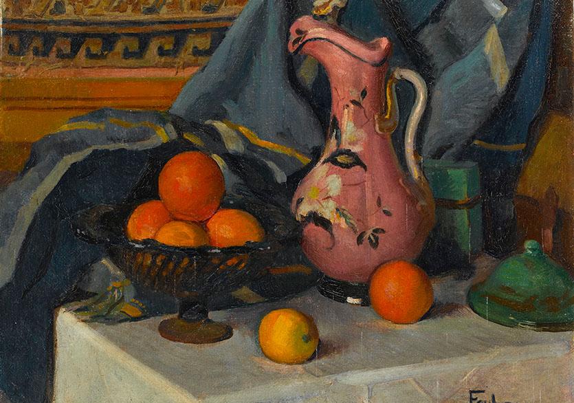 Feyhaman DuranPortakallı Natürmort, 1926Tuval üzerine yağlıboya60 x 73 cmEnv. no. 200-0060-FDSÜ Sakıp Sabancı Müzesi Koleksiyonu