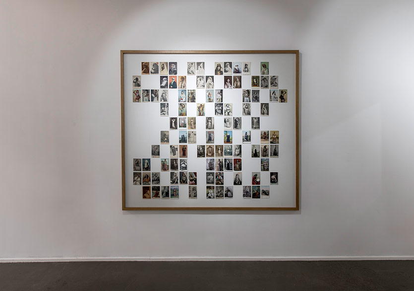 Aikaterini Gegisian - Self-Portrait as an Ottoman Woman, 99 archival postcards, 173 x 193 cm framed, 2016