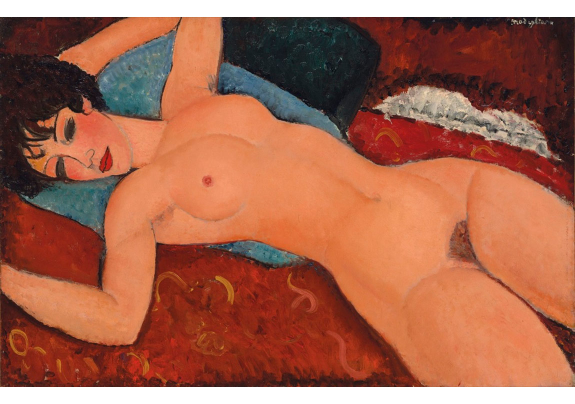 Amedeo Modigliani,  Nu couché, 1917-18. Price Realized: $170,405,000. Courtesy of Christie's Images ltd. 2015.