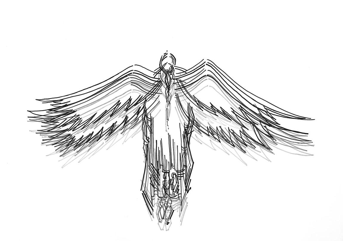 Çağrı Saraysürgünde melekler (2015)'damiel' serisinden kağıt üzerine çizim drawing on paper50 x 70 cm (her biri each)