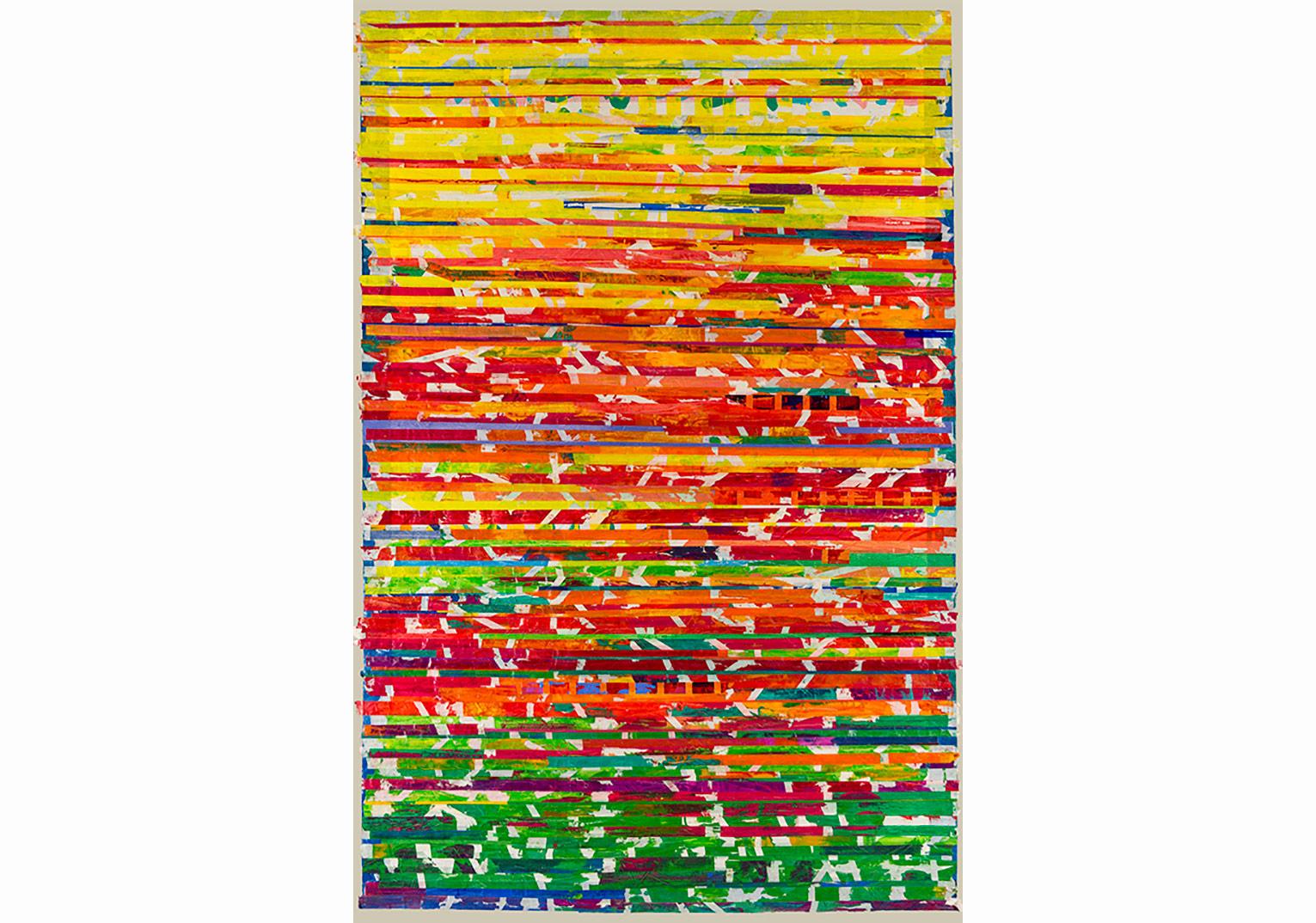 Seçil Erel, Olduğu gibi 2, 2016, kağıt üzerine maskeleme bandı ve yağlı boya, 160x105cm
