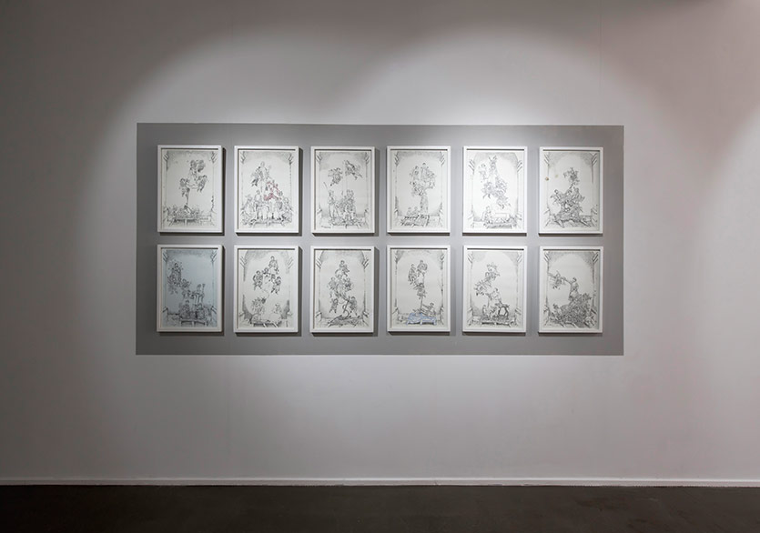 Ferhat Özgür - Memorable Things, serial drawings on paper, each 50x35 cm, 2011