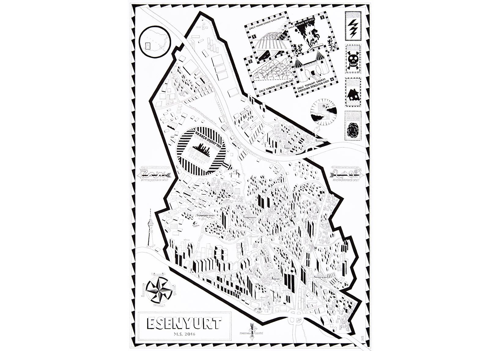 Cem Dinlenmiş, Esenyurt M. S. 2016,Kağıt üstüne dolmakalem, 100 x 70 cm, 2015
