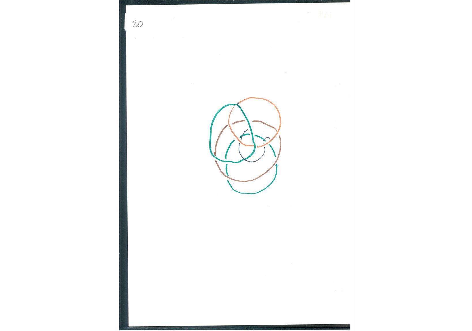 Jacques Lacan, Çizim ve resimlerin bulunduğu 15 yaprak kağıt, 1975-1978, Kağıt üzerine mürekkep ve renkli keçeli kalem ve kurşunkalem