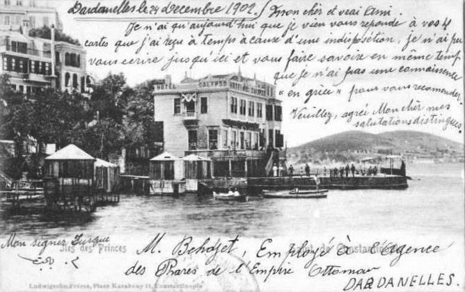 Büyükada'da Hotel Calypso'yu (Akasya Otel) gösteren 1902 tarihli kartpostal.