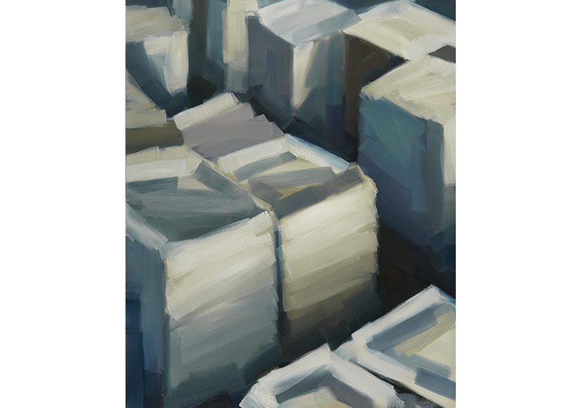 Jochen Proehl - Urban Tectonics - Galata Cuboids 1, 2017, Oil on canvas, 150x120 cm