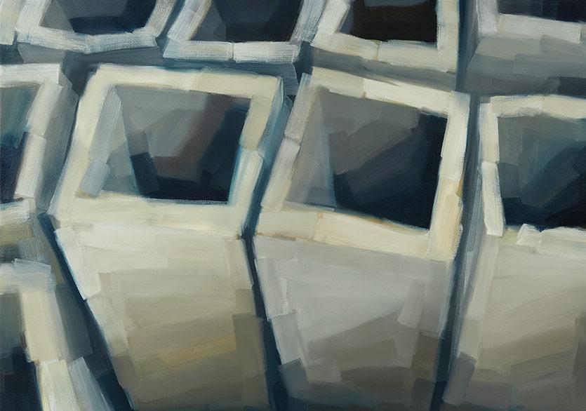 Jochen Proehl - Urban Tectonics - Galata Cuboids 3, 2018, Oil on canvas, 130x180 cm