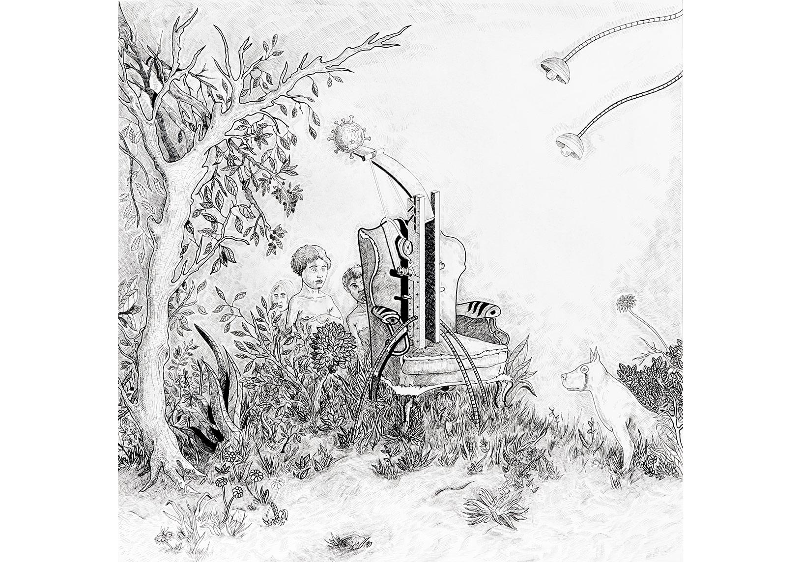 Sonsuz gençlik bahçesi - 50 x 50 - Kağıt üstüne mürekkepli kalem . 2016