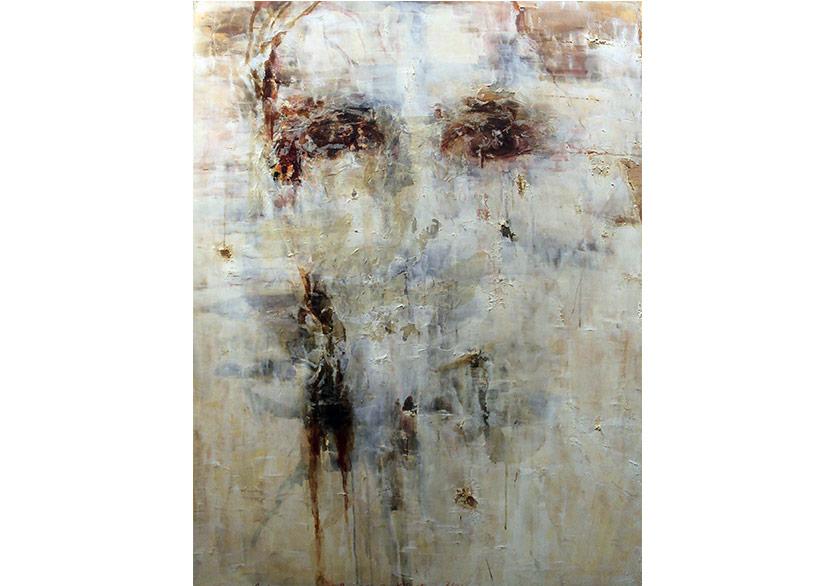 Arzu Başaran, Portre 1, 2012, Tuval üzeri karışık teknik, 150x115cm