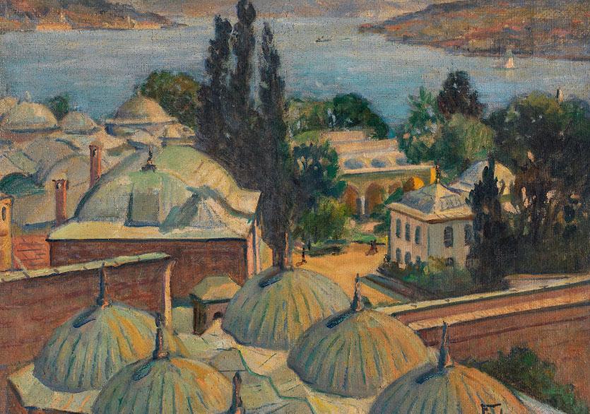 Feyhaman DuranManzara (Topkapı Sarayı Müzesi kulesinden Boğaziçi), 1946Duralit, çuval üzerine yağlıboya48 x 61 cmEnv. no. 5/2000İstanbul Üniversitesi Feyhaman Duran Koleksiyonu