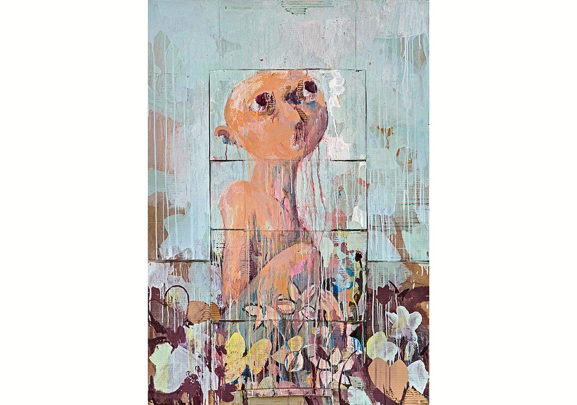 Hunger II, Karton üzerine karışık teknik, 141 x 97,5 cm, 2014