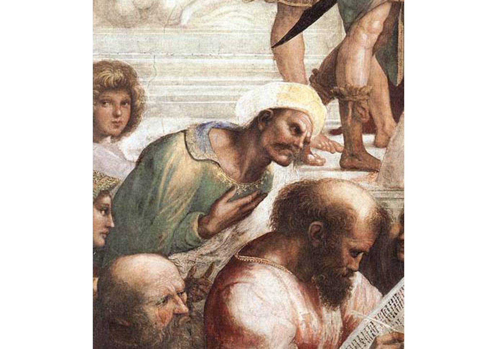 İbn-i Rüşt, Raffaello'nun Atina Okulu adlı freskinden ayrıntı