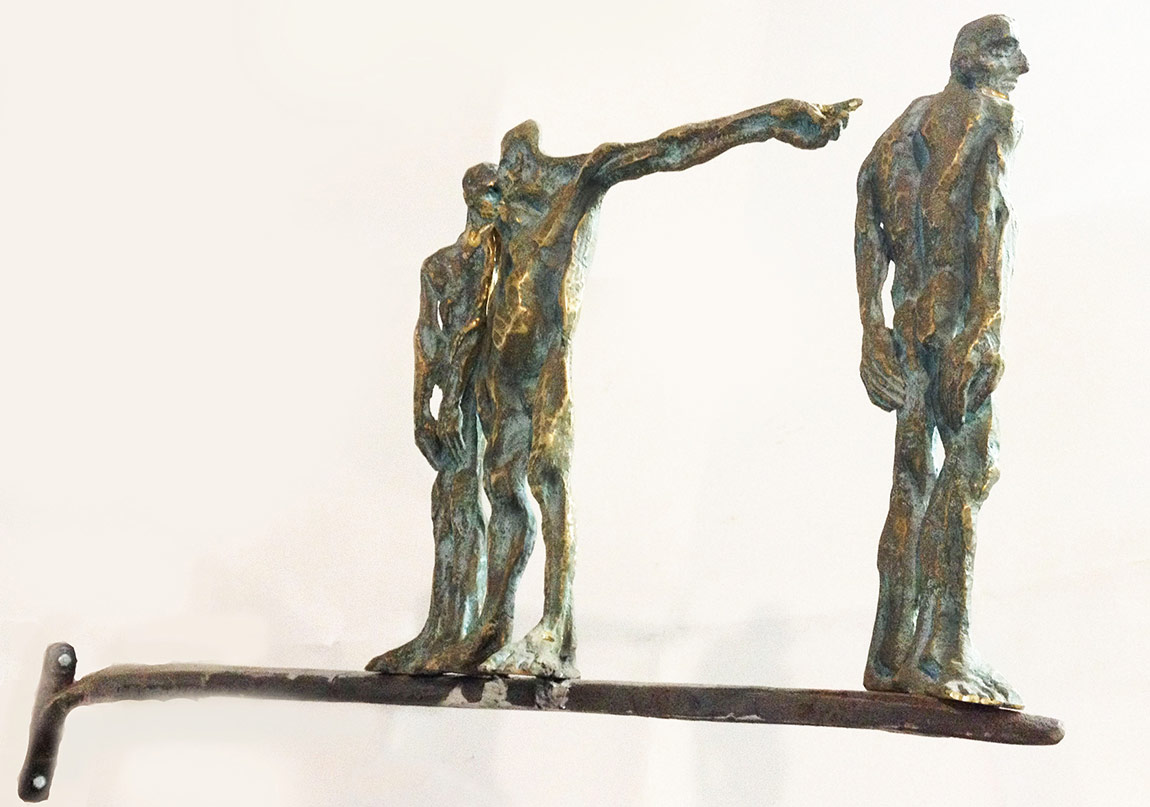 "Catalin Badarau, ""Scaffold"", 2010, Sculpture, bronze  and iron, aprox. 30X45X5 cm (HXWXD) (2)"
