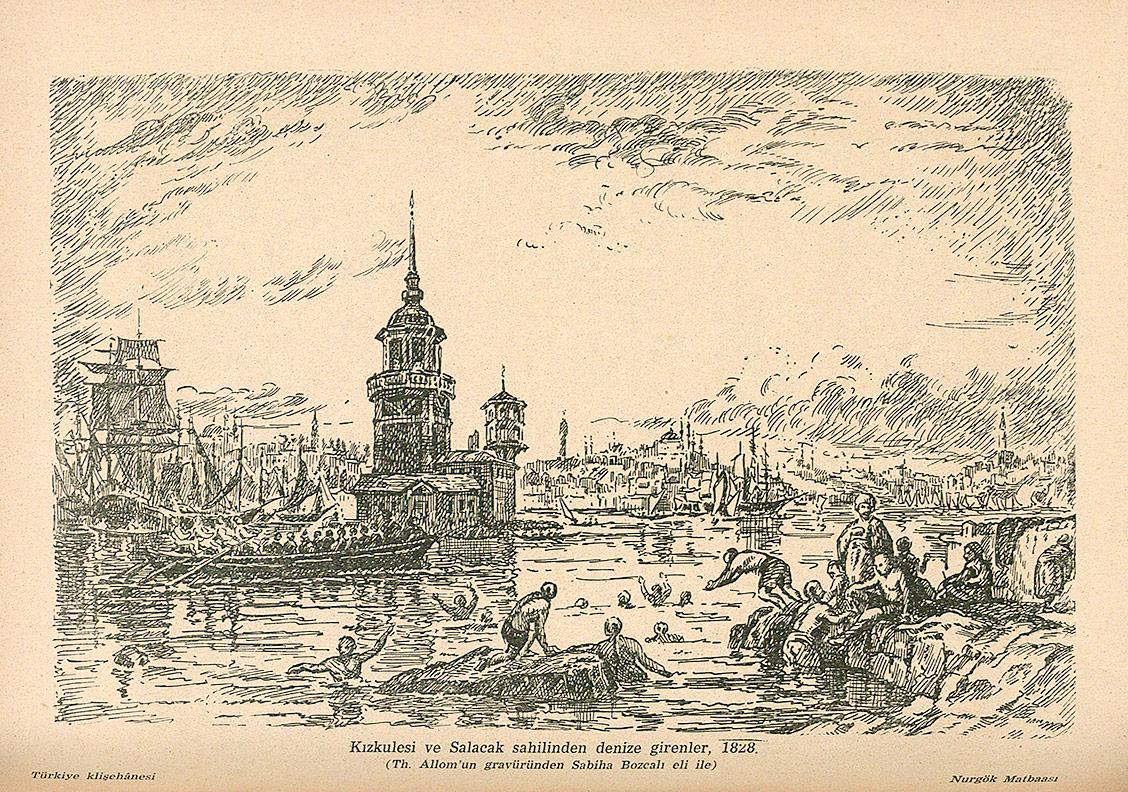 Sabiha Bozcalı, Thomas Allom'ın 1828 tarihli bir gravürünün reprodüksiyonu, İstanbul Ansiklopedisi, 1965Emine Esenkova Gönel'in izniyle