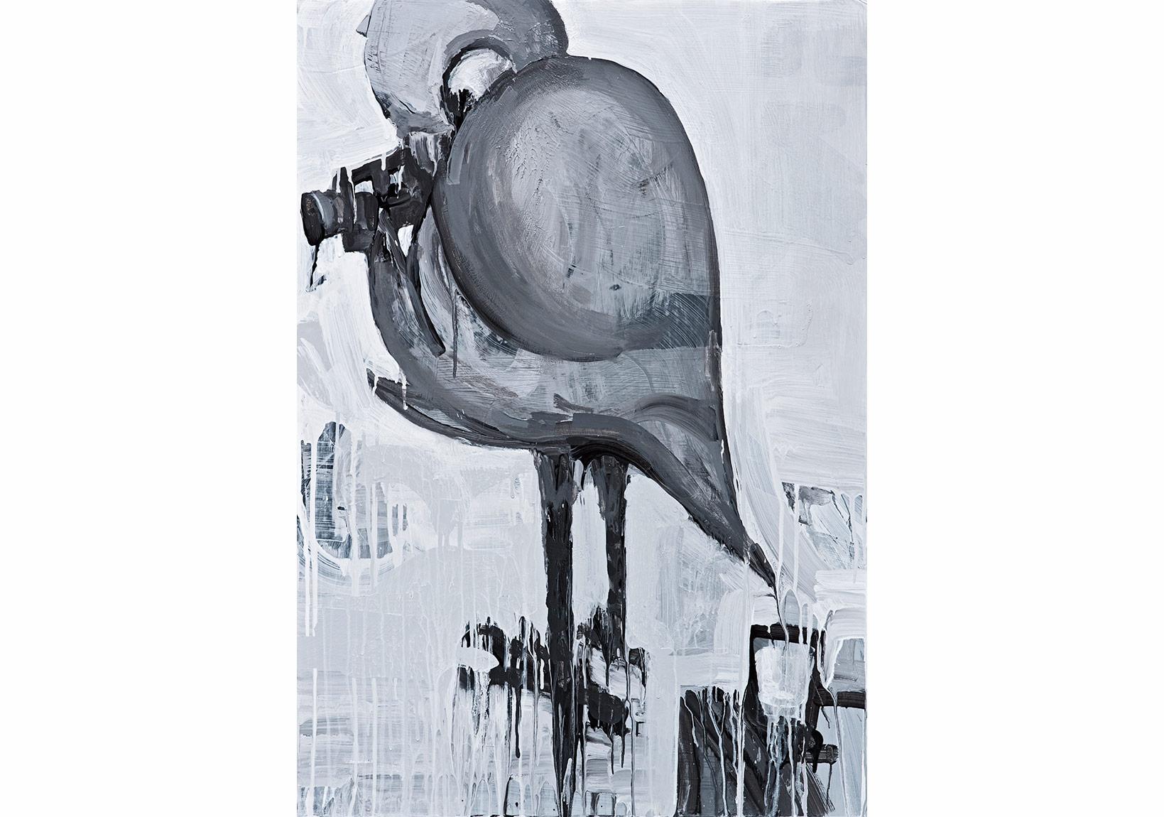"""Erkut Terliksiz, """"An Andolusian Dog / Audition II""""Fotoblok üzerine akrilik, 100 x 70 cm, 2015"""
