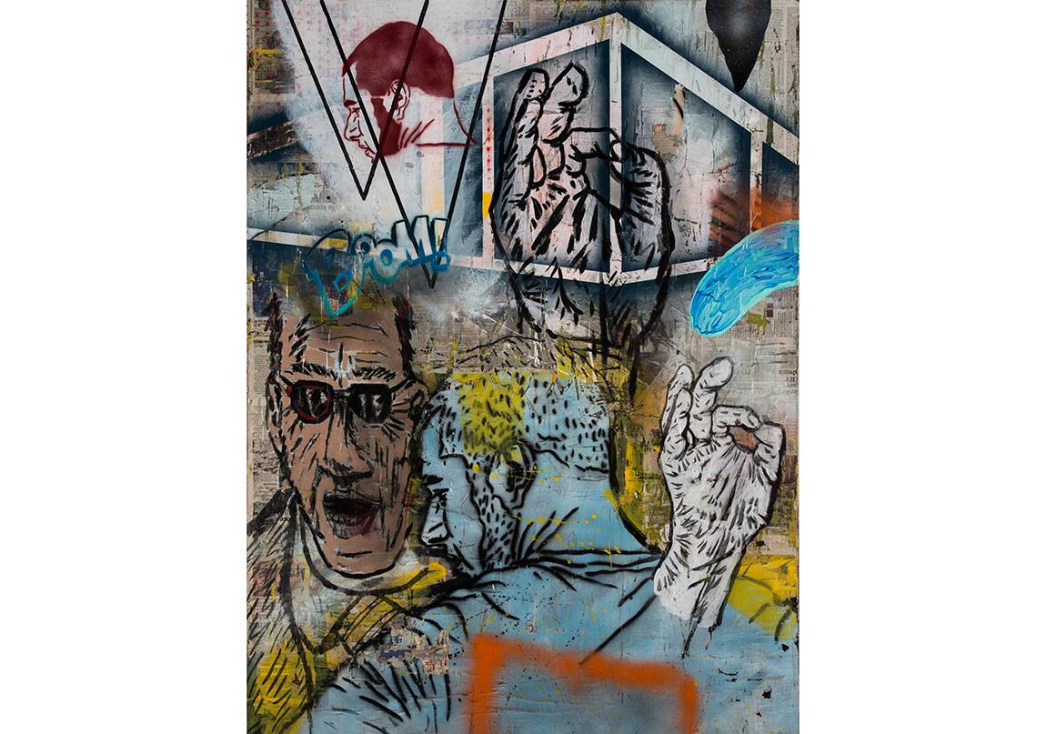 Olcay Kuş, Her Şey Yolunda, 2016. Tuval üzerine gazete kâğıdı, mürekkep, akrilik ve sprey boya, 160 x 120 cmFotoğraf: Kayhan Kaygusuz