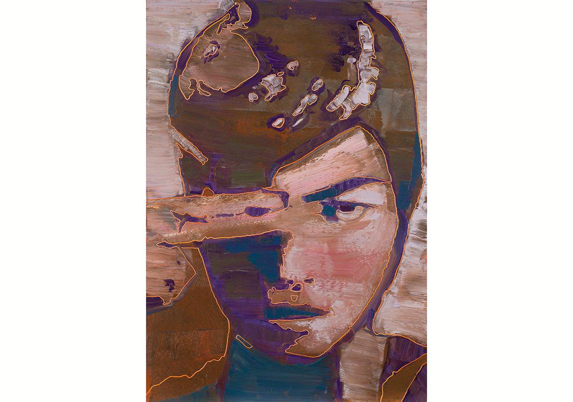 Horasan, İsimsiz, 2016. Kâğıt üzerine yağlıboya, 100x70 cm.Horasan, Untitled, 2016. Oil on paper, 100x70 cm.