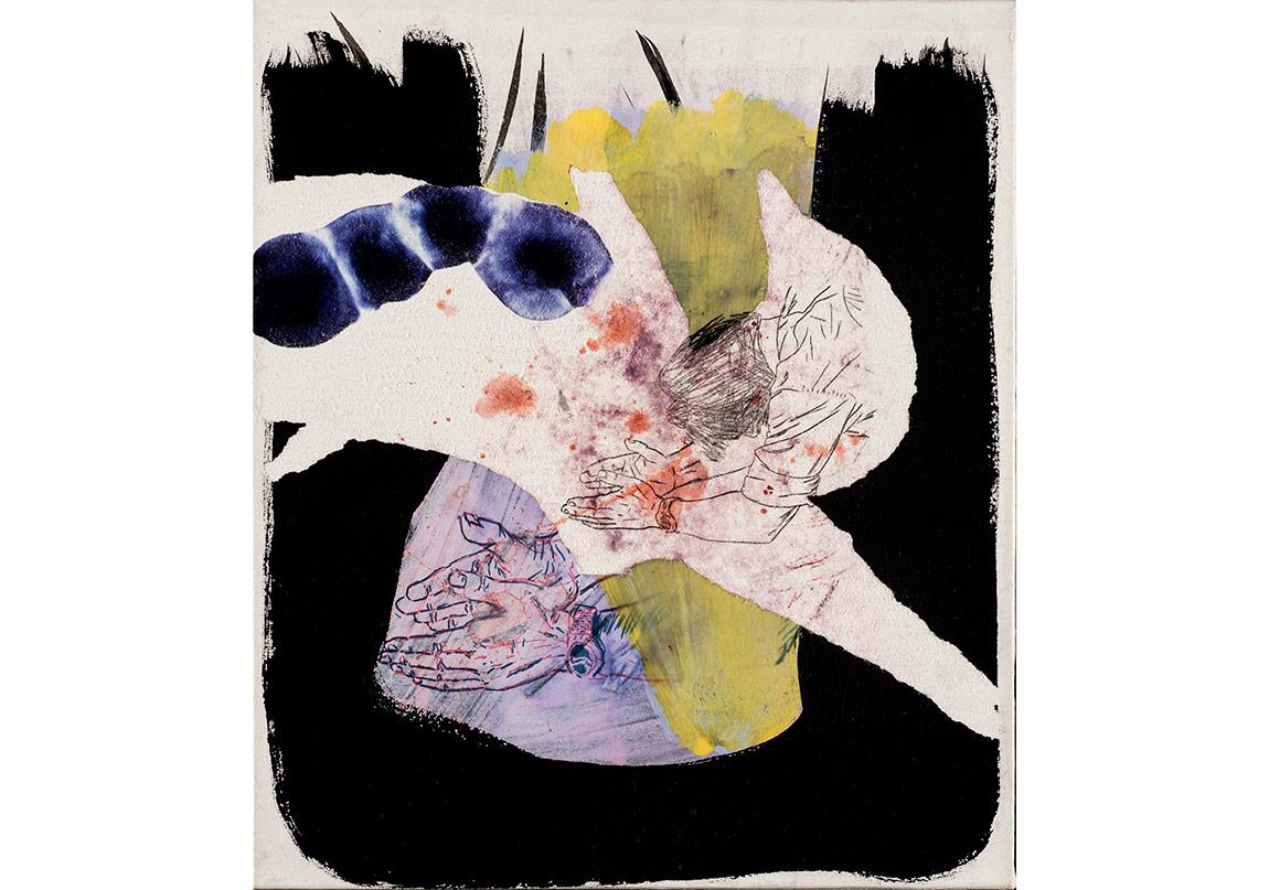 Olcay Kuş, İsimsiz, 2016. Tuvale marufle kâğıt üzerine kolaj, mürekkkepli kalem ve akrilik boya, 46 x 39 cmFotoğraf: Kayhan Kaygusuz