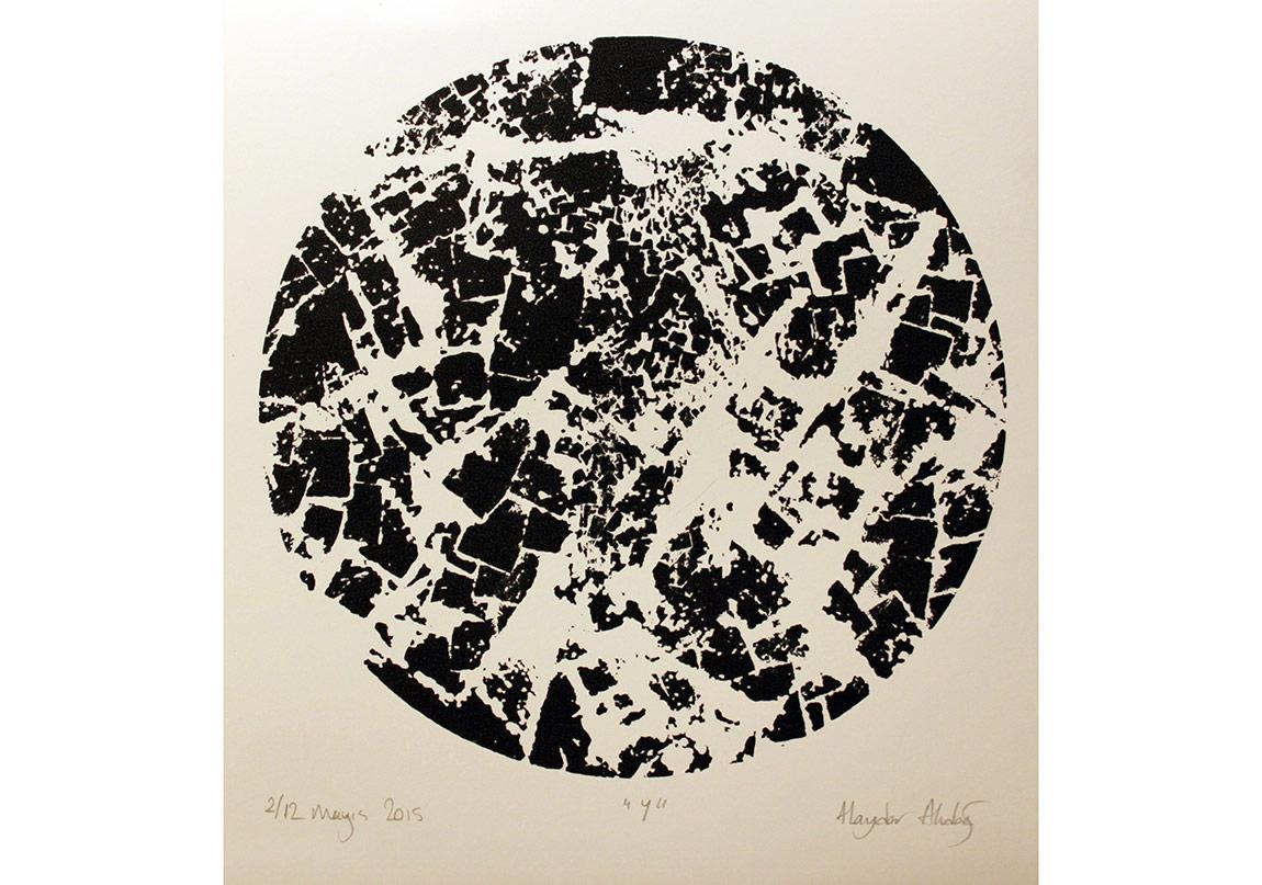 """Haydar Akdağ, """"Y"""", Amerikan Bristol Kağıdı üzerine serigrafi baskı / Silk Print on American Bristol Paper, 32x35, 12+1 Ed. 2015"""