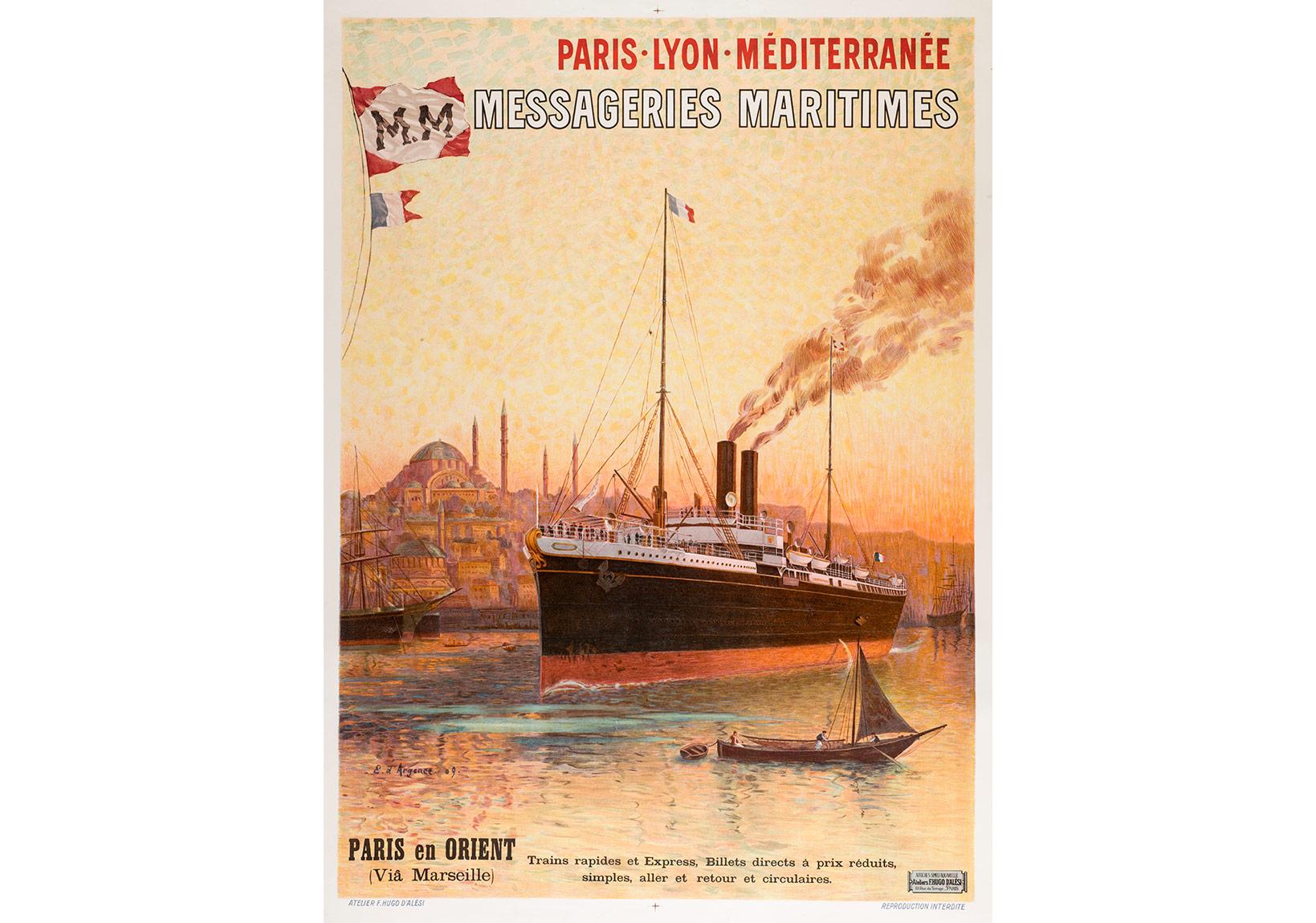 Compagnie des Messageries Maritimes'in afişi. Çizim Eugène d'Argence, 1909, Pierre de Gigord Koleksiyonu.