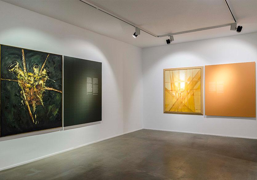 İnci Eviner - Gövde, Body, 1990, Tuval üzerine karışık teknik, 160x130 cm, Ferruh Başağa - İsimsiz (Untitled) (2002), Tuval üzerine yağlıboya, 142x122 cm