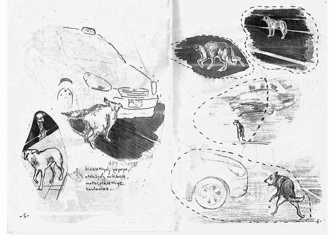 """""""Taksiye Havlayan Köpek"""", 2010, Fanzin, Kayısı Kent A4 kapsamında."""