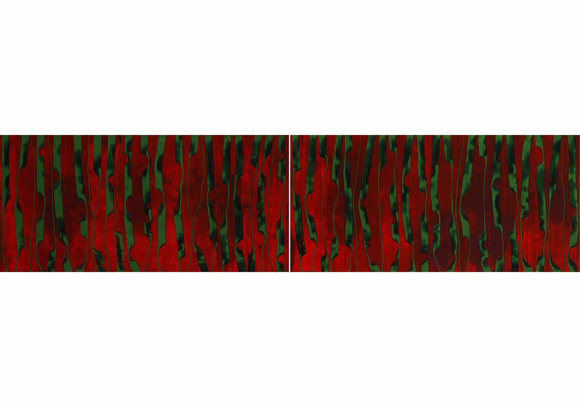 İsimsiz, 2014Tuval üzerine yağlıboya, diptik90 x 188 cm (her biri)Sanatçının ve Rampa'nın izniyleFotoğraf: Reha Arcan