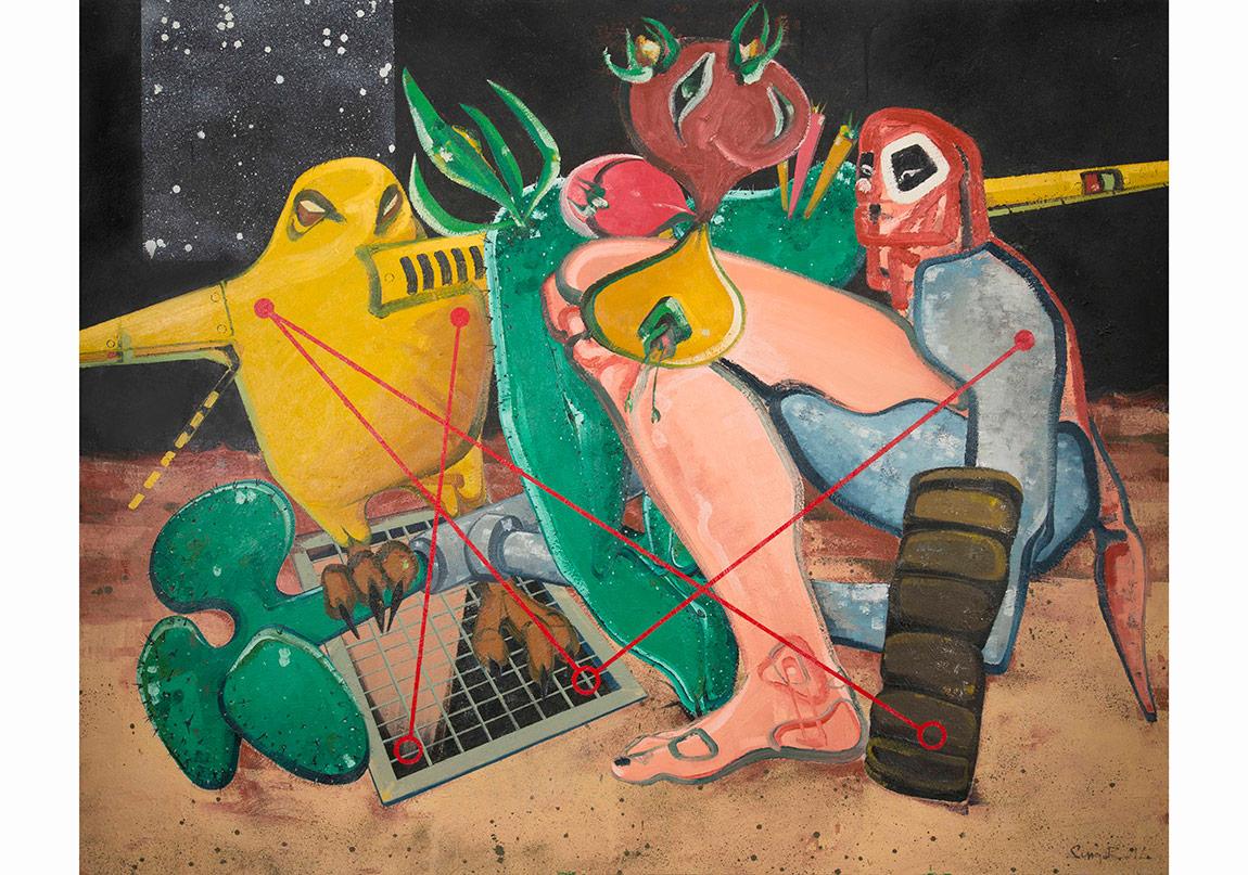 Organik Makine, 2014. Tuval üzerine yağlıboya, 200 x 250 cmOrganic Machine, 2014. Oil on canvas, 200 x 250 cmFotoğraflar: Kayhan Kaygusuz