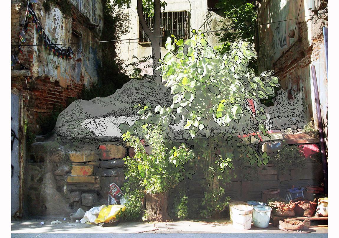 """Dualar Kabul"", 2010, Animasyon, Video Projeksiyon, Antrepo 5, 2010 Avrupa Kültür Başkenti, İstanbul."