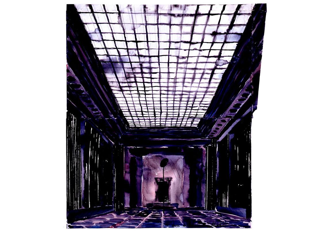 Innenraum [Intérieur], 1982 Aquarelle, crayon et collage 77,5 x 68,5 cmHall CollectionPhoto: © Jochen Littkemann, Berlin