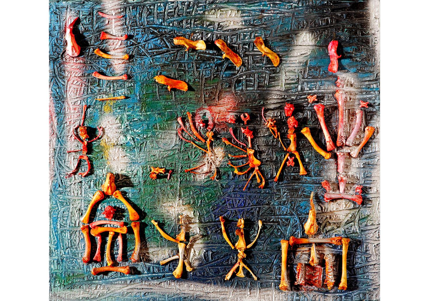 Fahrelnissa Zeid, Kemikli Kompozisyon (Tarihsiz), Tuval Üzerine karışık teknik, 50x55 cm.