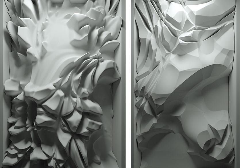 Eriyen Hatıralar - Veri Tablosu / Melting Memories - Data Painting - E, 2018Özel yazılım, veri, 3840x2160, 4K, 2 kanallı ses sistemi, 5400 kare, döngü / Custom software, data, 3840x2160, 4K, 2 channel sound, 5400 frame, loop146h x 84w cm P.RA_012